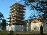 Mickfield church - the scaffolding arrives. Spring 2004